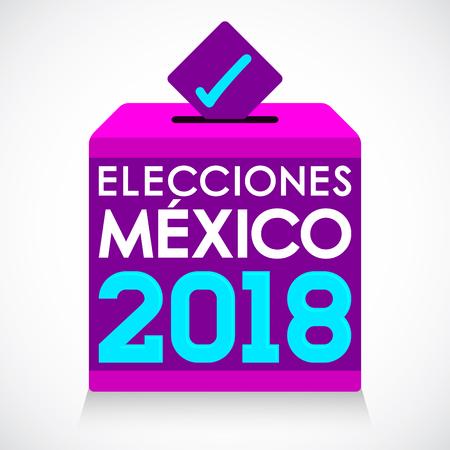 Elecciones Mexico 2018, Mexico Elections 2018 Spanish text, presidential election day vote ballot box.