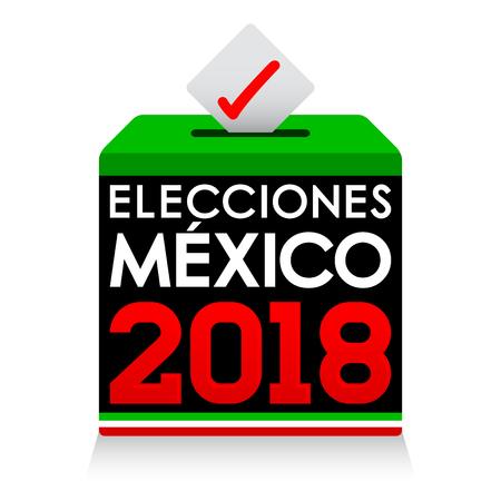 Elecciones Mexico 2018, Mexico Elections 2018 spanish text, presidential election day vote ballot box. Ilustracja