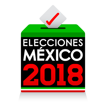 Elecciones Mexico 2018, Mexico Elections 2018 spanish text, presidential election day vote ballot box. Illustration