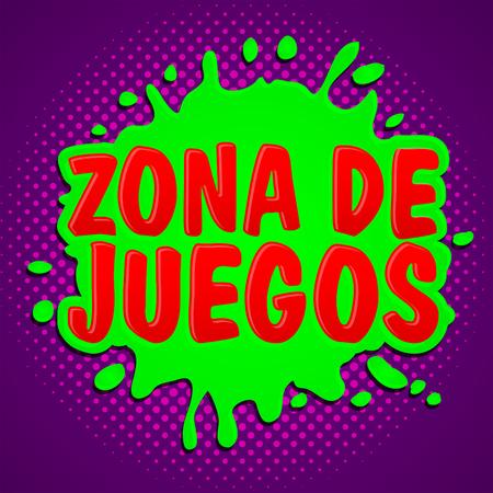 Zona de juegos, Games Zone Spaanse tekst, vector teken illustratie.