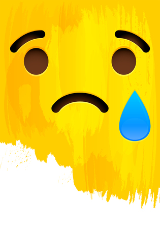 Crying sad smiley face on yellow paint wall vector illustration.
