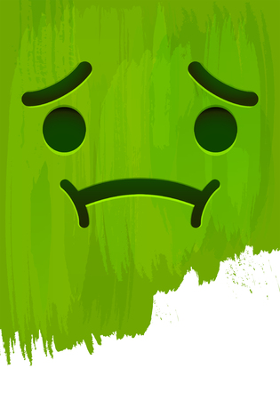 Sick disgusted smiley face on green paint wall vector illustration