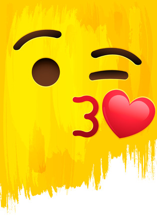 Kissing mouth smiley face on yellow paint wall vector illustration Çizim