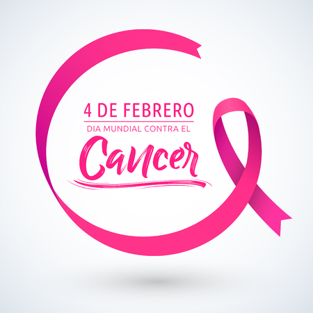 Dia mundial contra el Cancer 4 de Febrero, World day against Cancer february 4 spanish text, circular ribbon vector illustration