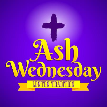 Ash Wednesday Christian tradition vector emblem design. Illustration