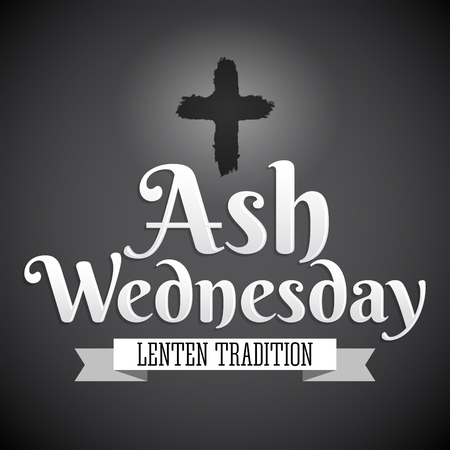 Ash Wednesday Christian tradition vector emblem design