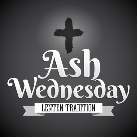 Ash Wednesday Christian tradition vector emblem design