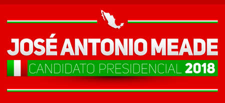 Candidato presidencial 2018, presidential candidate 2018 spanish text, Mexican elections vector banner design.