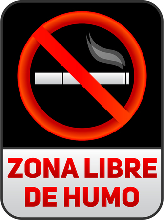 Zona libre de humo, Smoke free zone spanish text, vector sign illustration.  イラスト・ベクター素材