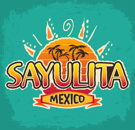 Sayulita Mexico - vector icon, emblem design with coconut trees, sun on blue background. 일러스트