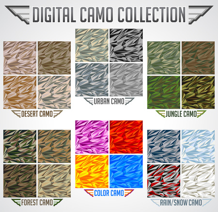 Camo Seamless vector digital Camouflage collection in Urban, Desert, Jungle, Snow camo set. Stock Illustratie