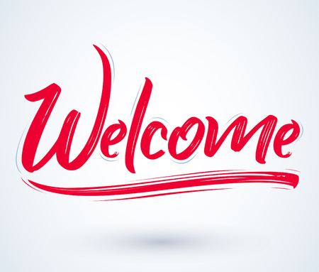 Welcome - Hand lettering vector illustration banner