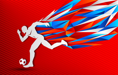 Soccer Football player and Russia color background, modern event banner design