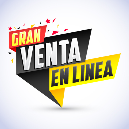 Gran Venta en Linea  Great Online Sale spanish text, vector modern colorful banner