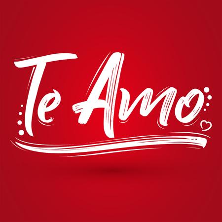 Te Amo, I love you Spanish text, vector lettering design.