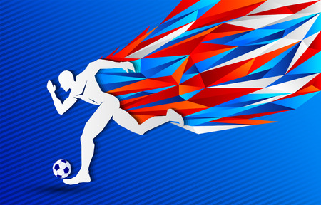 Soccer Football player Russia color background, modern event banner design