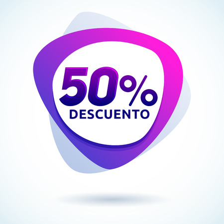 50% Descuento, 50% discount spanish text, Modern sale tag vector Illustration, Offer price label.