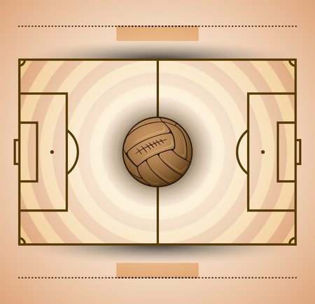 Football field and soccer ball vintage style illustration.