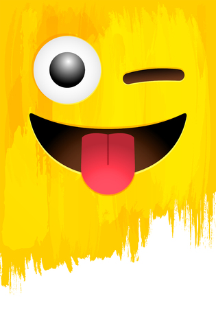 Smiley face with stuck-out tongue and closed eye on yellow paint wall vector illustration