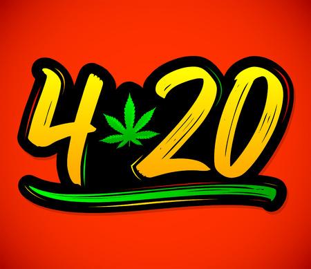 4:20 Marihuana Blatt, Cannabis Feier Vektor Schriftzug Design, 20. April.