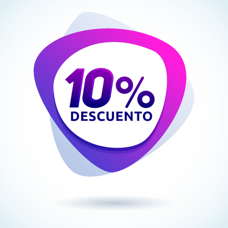 10% descuento, Spanish text, modern sale tag vector illustration, offer price label.