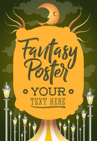Fantasy conceptual poster template, vector illustration design.