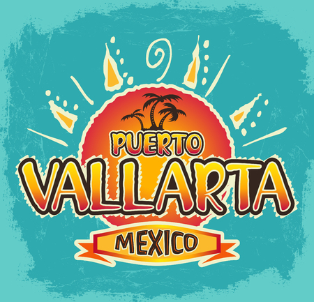 Puerto Vallarta Mexico - vector icon, emblem design