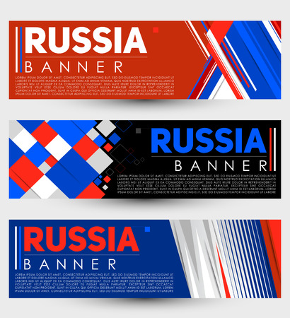 Russia modern banner template vector set design  イラスト・ベクター素材