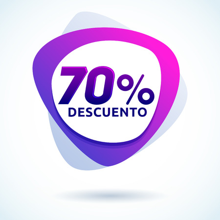 70% Descuento, 70% discount spanish text, Modern sale tag vector Illustration, Offer price label.
