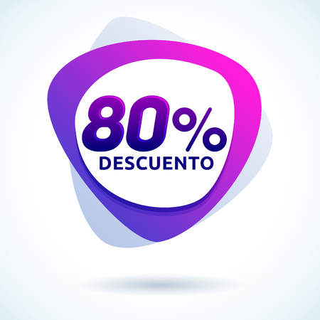 80% Descuento, 80% discount spanish text, Modern sale tag vector Illustration, Offer price label. Ilustração