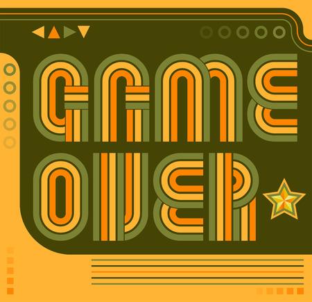 Game Over screen eighties video games style Иллюстрация