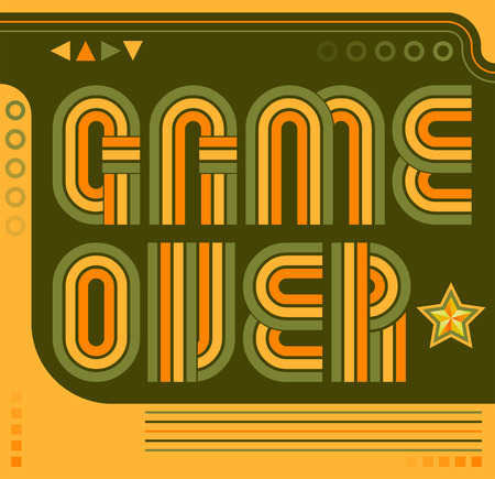 Game Over screen eighties video games style Illustration