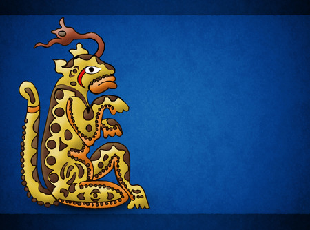 Mayan jaguar deity Balam, illustration with paper texture background.