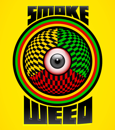 Smoke weed,  red eye icon, colorful emblem design, weed is another name for marijuana. Illustration