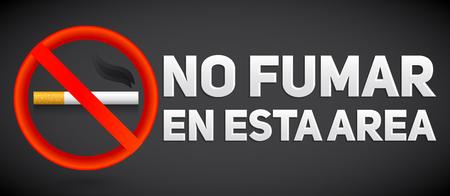 No fumar en esta area, No smoking in this area in Spanish text, vector sign illustration.