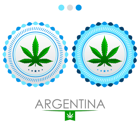 Argentina marijuana emblem, vector cannabis seal of approval with the colors of the flag of Argentina Illustration