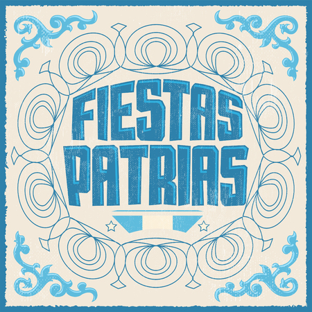 Fiestas Patrias, National Holidays spanish text, Argentina theme patriotic celebration banner, Argentine flag color