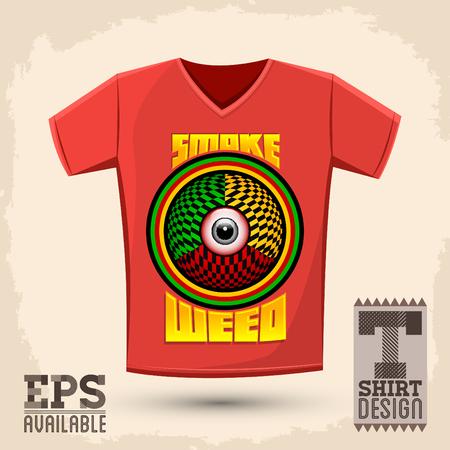 Smoke weed graphic shirt design, red eye psychedelic illustration shirt print