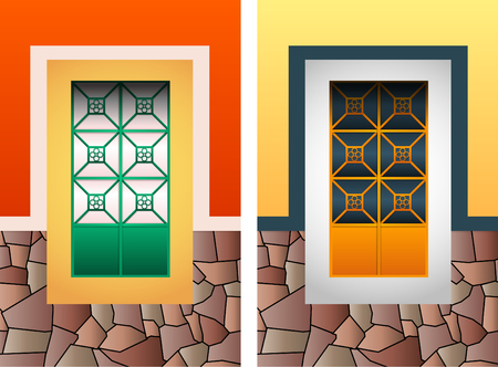 Colonial window vector illustration set, colorful rustic stone frame