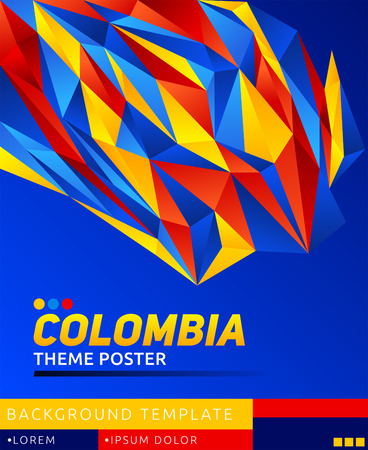Colombia theme modern poster, vector  template illustration, colombian flag colors