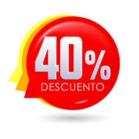 50% Descuento, 50% discount spanish text, bubble sale tag vector illustration, Offer price label.