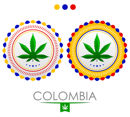 Colombia marijuana emblem, vector cannabis seal of approval with the colors of the flag of colombia.