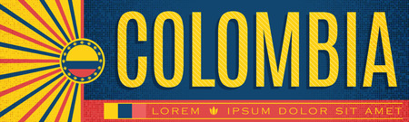 Colombia patriotic banner vintage design, typographic vector illustration, colombian flag colors Vectores