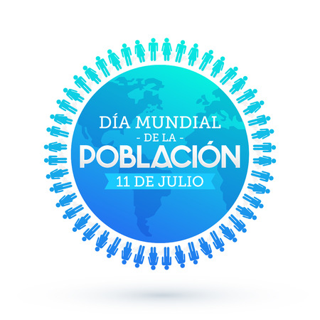 Dia Mundial de la Poblacion julio 11, World Population Day july 11 spanish text vector design emblem Ilustrace