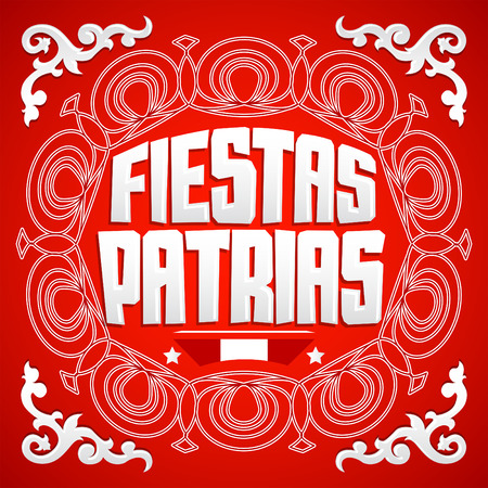 Fiestas Patrias, National Holidays spanish text, Peru theme patriotic celebration banner, Peruvian flag colors Ilustração