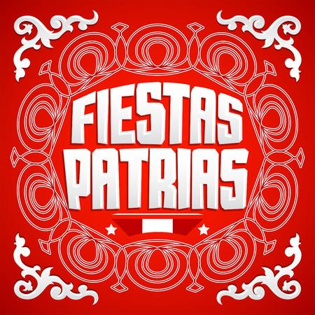 Fiestas Patrias, National Holidays spanish text, Peru theme patriotic celebration banner, Peruvian flag colors Illustration