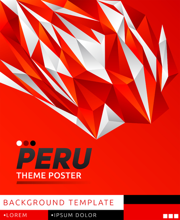 Peru theme modern poster, vector   template illustration, peruvian flag colors
