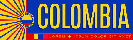 Colombia patriotic banner design, typographic vector illustration, colombian flag colors