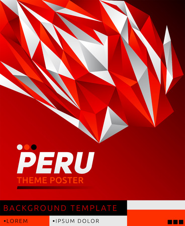 Peru theme modern poster, vector   template illustration, peruvian flag colors