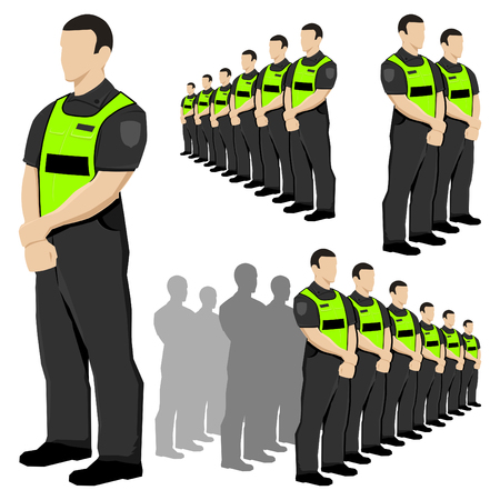 Police security guard vector set with fluorescent safety vest